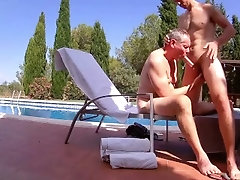Mature Daddy fucks younger boy bareback by pool - Older Younger 2 angles