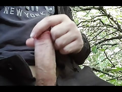 wank in woods next to busy road, chav with thick uncut cock