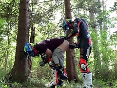 Biker gay fuck in the forest