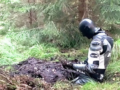 Cum in the mud with a leather suit, MX boots and rubber suit