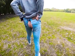 """His Jeans Ripped & A STORM IS COMING! """"Let's Fuck"""": Horny Twink Takes Hung Dick In Public Woods POV"""