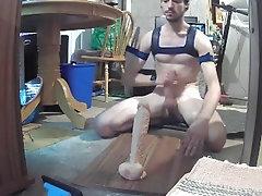 Hot twink rides huge dildo hardcore.
