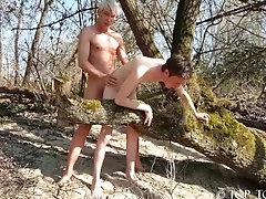 Blonde Twink fuck skinny bottom boy in public
