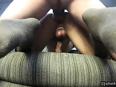 20yr blindfolded smooth twick couch fucked by his daddy