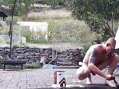 German Guy get naked in Garden