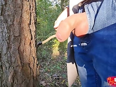 Pissing boy - uncircumcised cock in forest