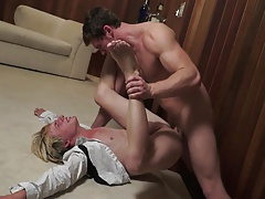 Blonde femboy analized by muscular man