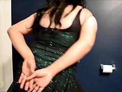 sissy cd in shiny club dress