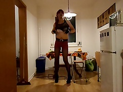 Smoking Redhead Emo Girl in Kitchen