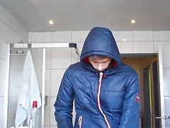 Me in superdry puffy jacket jerking off