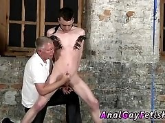 Young black male naked masturbating gay Sean McKenzie is roped up and at