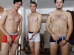 3 Mexican Beautiful Boys With Nice Cocks & Hot Asses On Cam