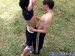 Gay latino twink couple fucking in the forest