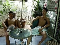 Hot thai asian bareback trio suck and fuck outdoor