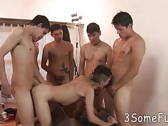 Smooth-skinned boy team fucked for a big swallow