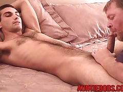 Horny Auntie Bob gives nice blowjob to sexy amateur TJ