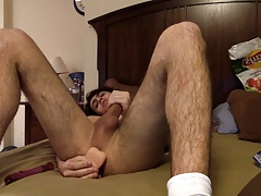 Cute hairy latino twink plays with dildos