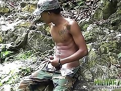 Military lad films his cum-dripping dick