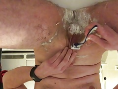 Shave wank and cum