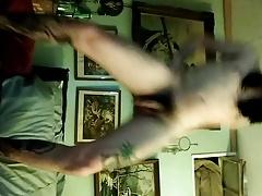 Gay hairy twink faggot dancing nude