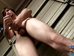 Bored butt pirate Nolan gets straight to cock tugging