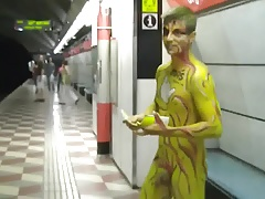 Bodypainting Boy In Subway