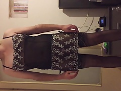 Caged femboy shows his body
