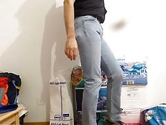 crossdresser in diaper under tight levis jeans - abdl