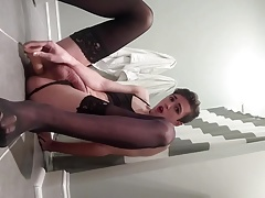 Young cute sissy CD fucks herself with big dildo