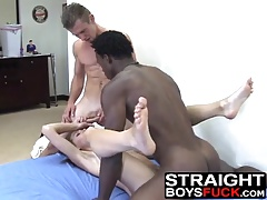 Skinny babe gets hard sex action from white and black cocks