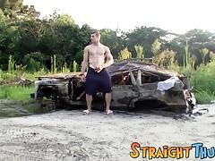 Hung straight stud Elijah Knight enjoys an outdoor jerk off
