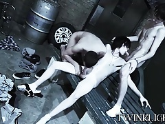 Threesome twink vamp sex with cute skinny dudes doing it raw