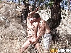 Chris Jansen and Luke Desmond engage in an outdoor bondage