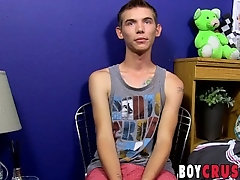 Twink Bentley Ryan strokes his large cock for an interview