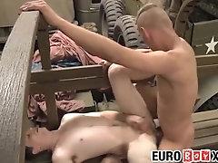 Twink soldiers bareback ramming at the repair shop