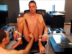 Boy tied to a chair, teased and edged