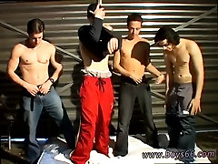 Pissing young cute gay Garage Piss Orgy For Justin