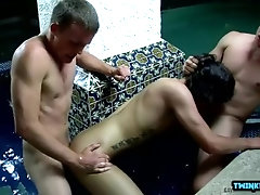 Hairy twinks double penetration and facial