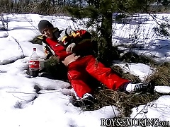 Awesome twink Roma likes smoking and stroking at once