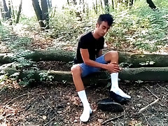 White socks POV outdoor walking, worshiping and making them dirty