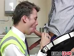 European twinks banging hard at their office kitchen