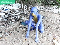 I Transformed Myself Into An Blue Alien... / Bodypaint / Naked Body Art #1