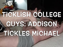 Ticklish College Guys - Michael gets tickled by Addison