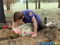 Twink boy scouts butt banging in a beautiful forest
