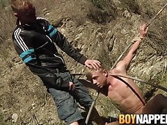 Bound submissive twink sucks dick and gets candle waxed