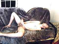 Hot scuffy college guy jacking off nude to radio