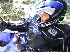 blonde german bikerboy explodes 4 times outodoor
