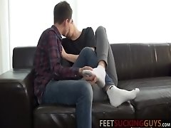 Dan and Furby immediately start kissing one anothers feet
