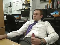 Guy cum at work