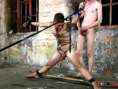 Roped Twink Gets Jacked and Fucked